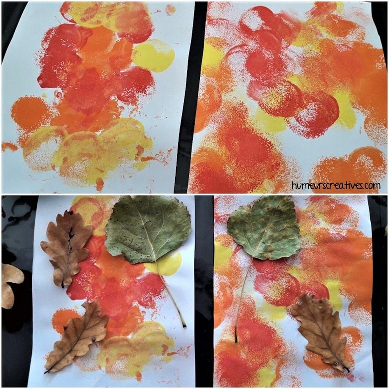 collage de feuilles d'automne sur peinture