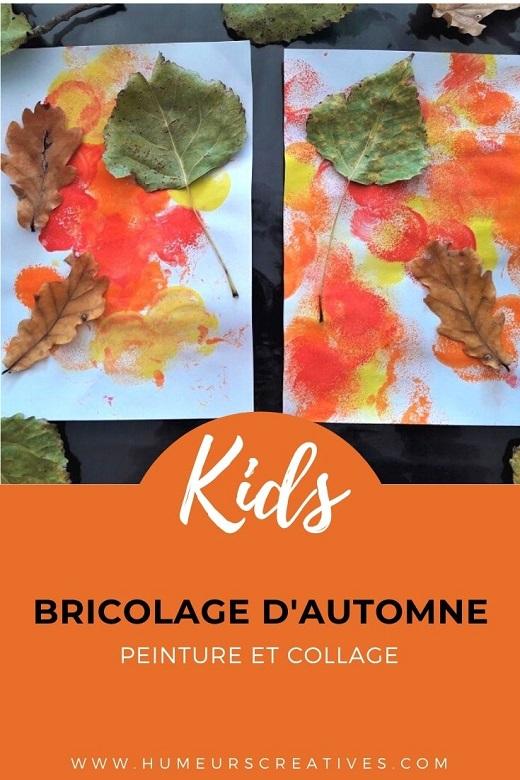 Bricolage d'automne pour enfants : peinture et collage de feuilles d'arbre