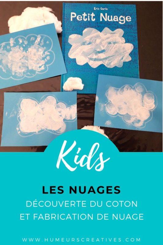 Activités pour enfants autour du nuage : découverte sensorielle avec du coton + fabrication d'un nuage à la peinture