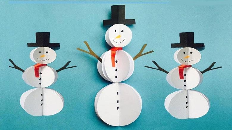 diy bonhomme de neige en papier