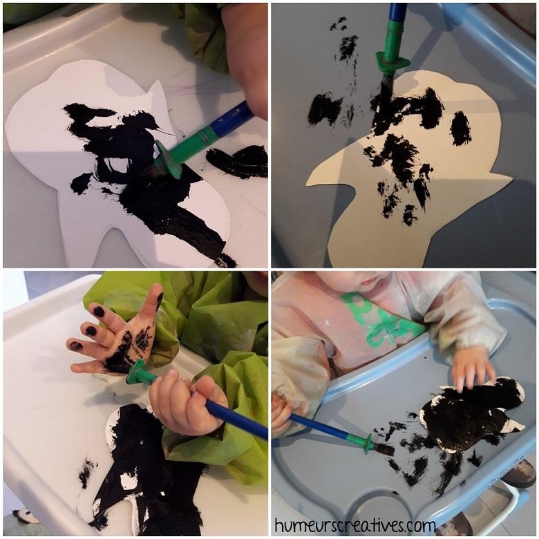 activité peinture : réalisation d'un pingouin