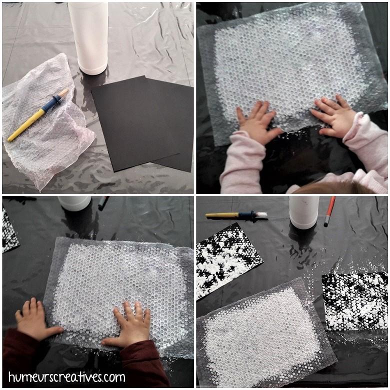 empreinte peinture avec papier bulle