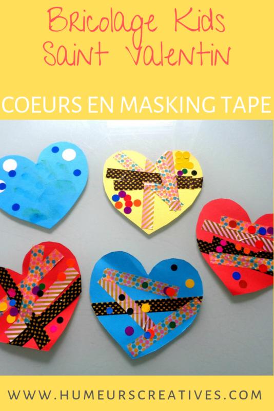 bricolage saint valentin pour enfants / décorer des coeurs en masking tape