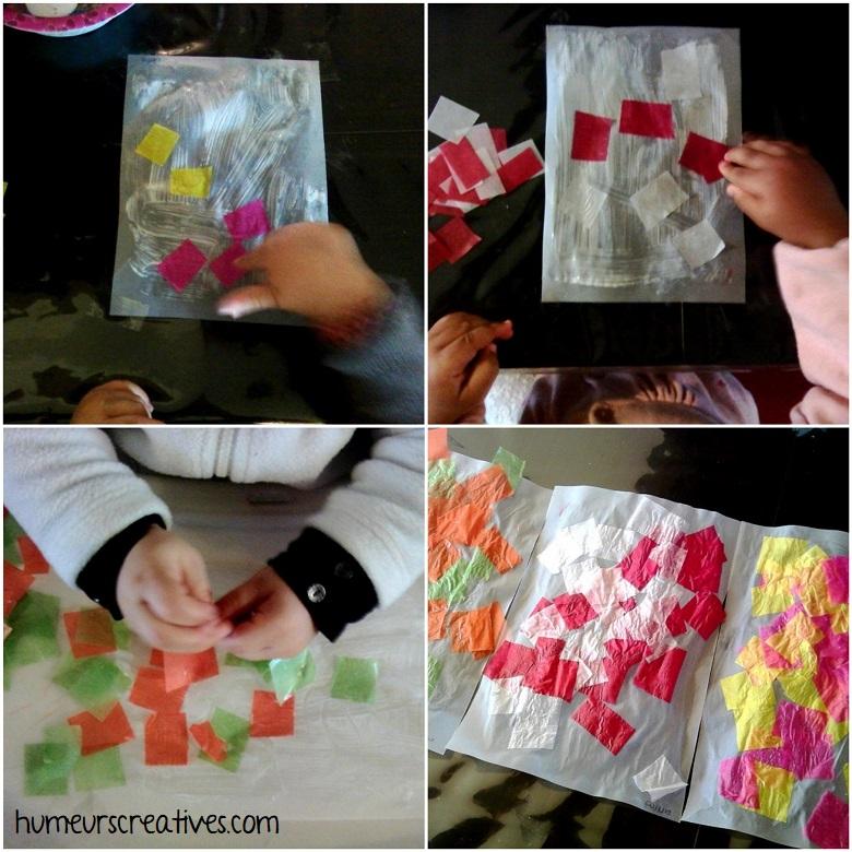 collage de papier pour réaliser des attrapes soleil de paques
