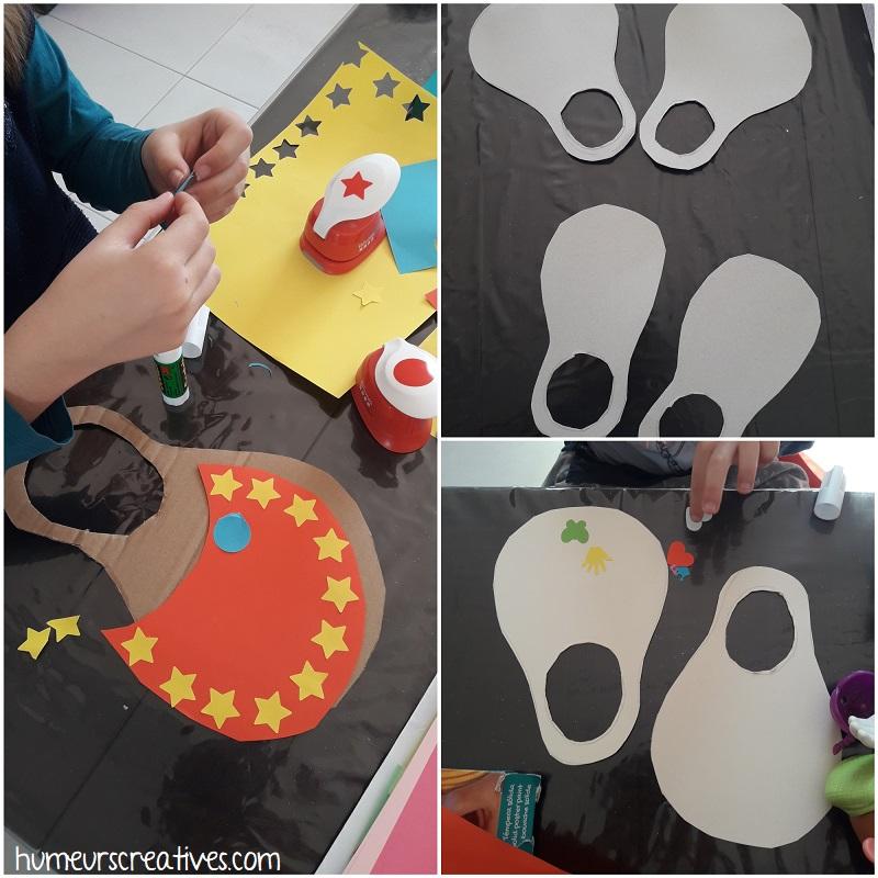 activité manuelle : fabrication des chaussures de clown - collage de gommettes