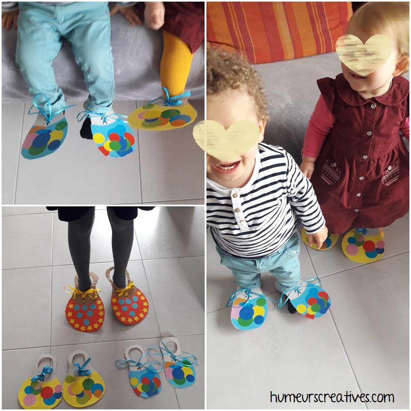 les enfants ont essayé leurs chaussures de clown fait main