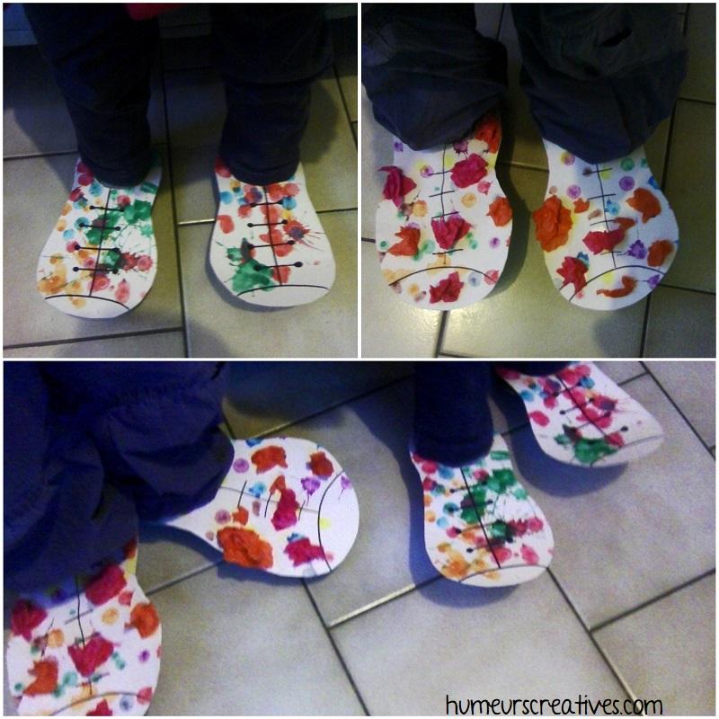activité manuelle : chaussures de clown pour enfants