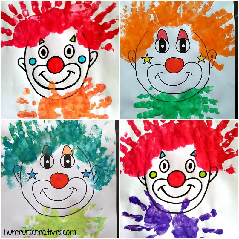 bricolage tete de clown en empreintes de mains