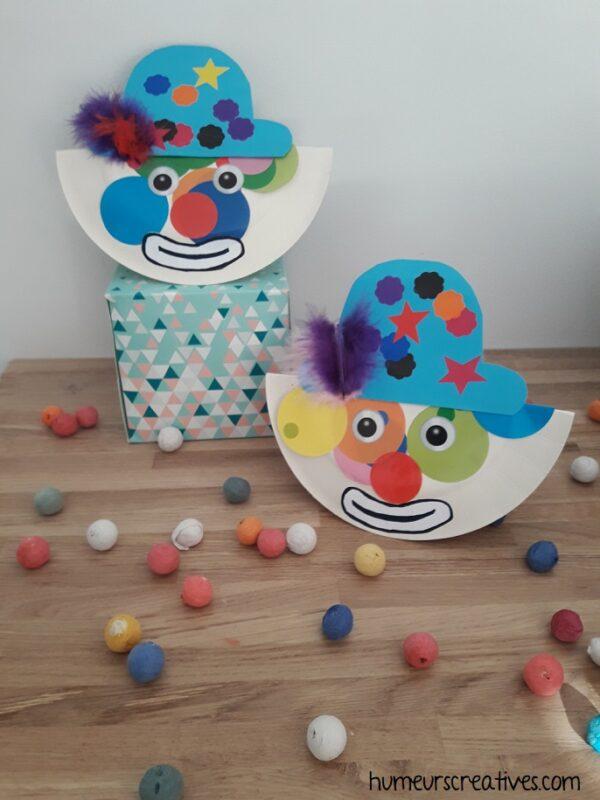 bricolage de clown en assiette en carton