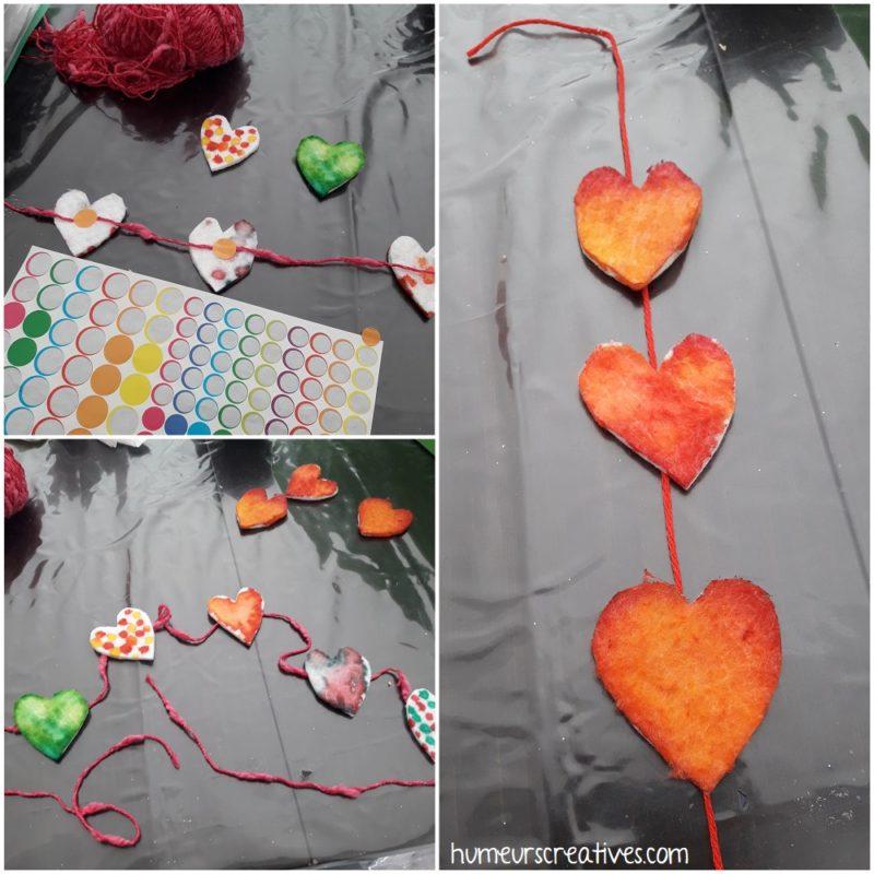 fabriquer des guirlandes avec les coeurs en coton