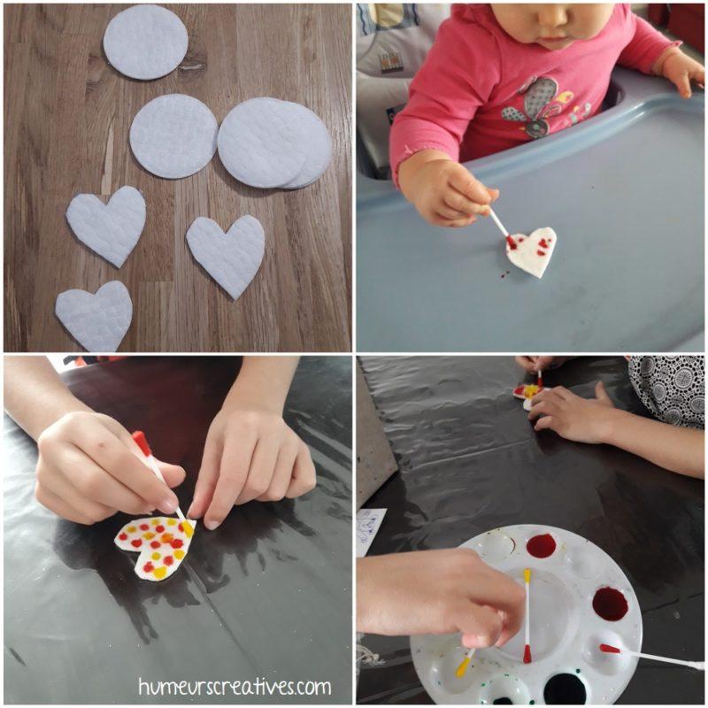 décorer un coeur en coton avec de l'encre et un coton tige