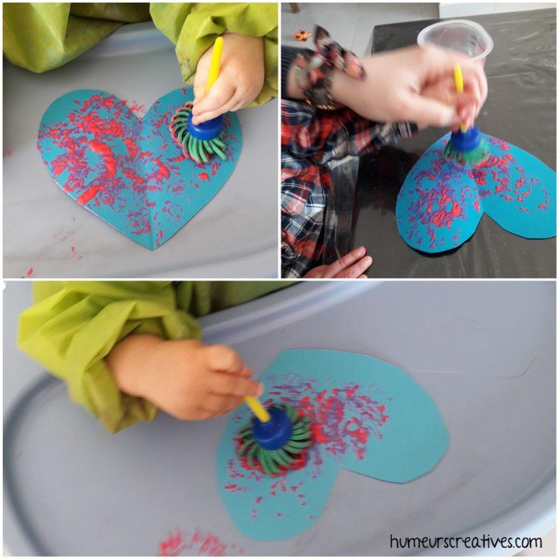 peinture sur un coeur par des enfants