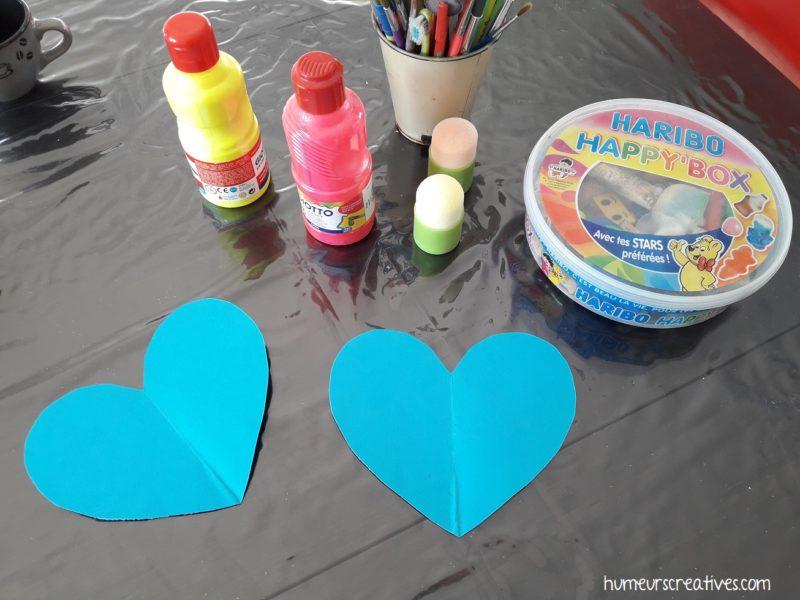 le matériel nécessaire pour notre activité manuelle sur les coeurs