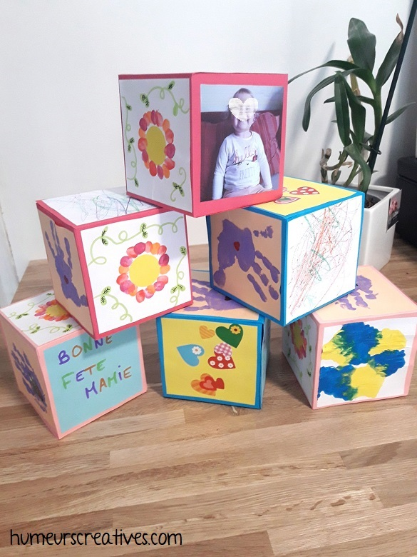 bricolage pour la fete des mamies : de jolis cubes créatifs