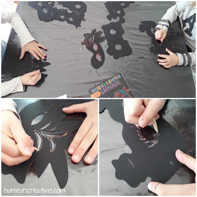décoration des masques à gratter par les enfants