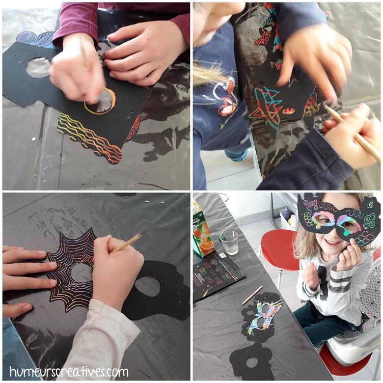 activité manuelle masques à gratter par les enfants