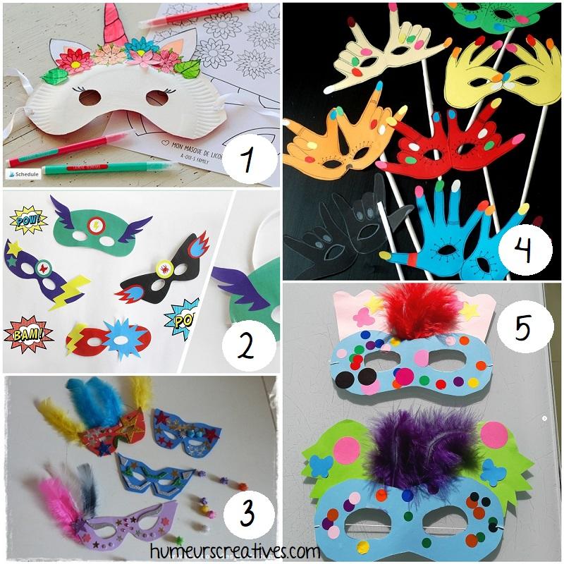 bricolages de masques pour le carnaval