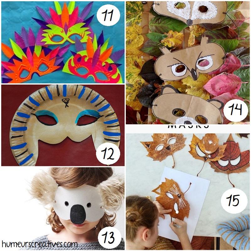bricolages de masques pour enfants