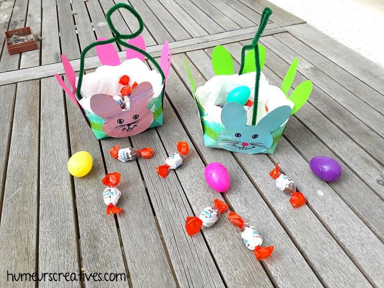 nos paniers de paques avec des lapins