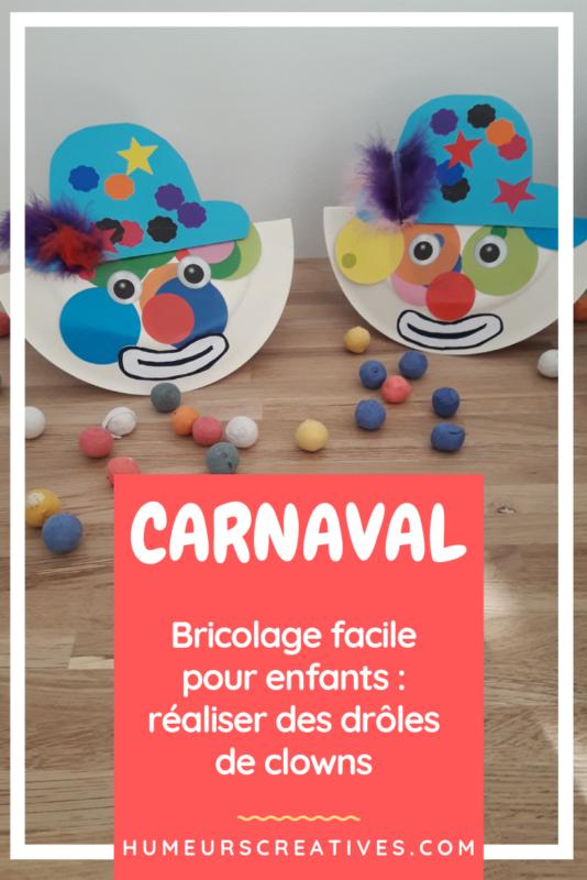 bricolage pour enfant : un clown en assiette en carton