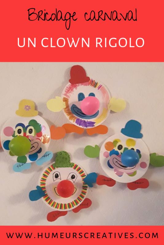 bricolage mardi gras pour enfants : fabriquer un clown avec une assiette en carton
