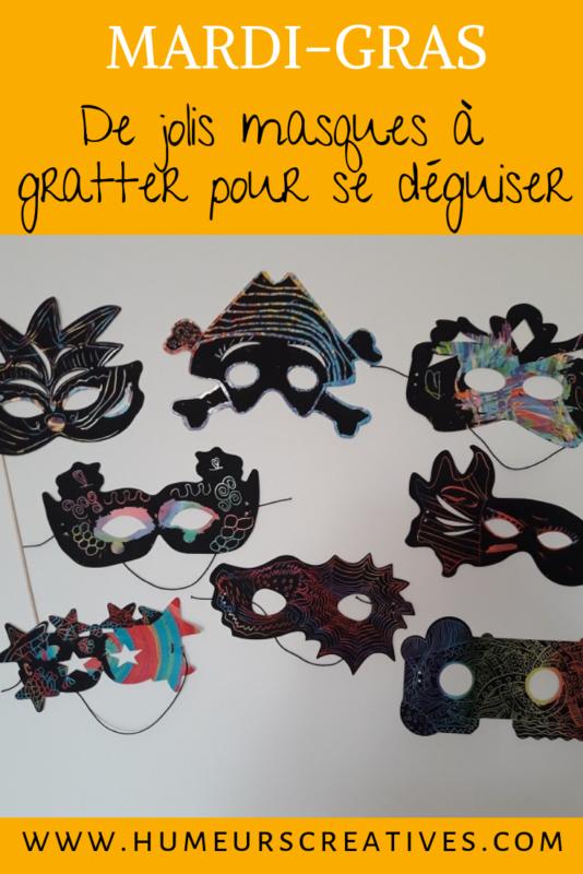 présentation bricolage pour enfants : masques à gratter pour le carnaval