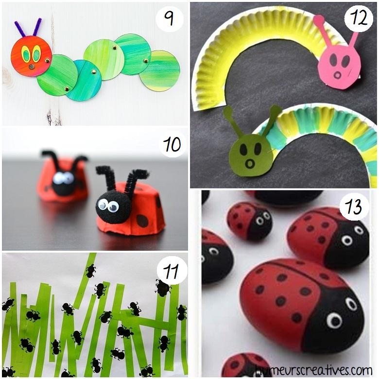 bricolage chenille coccinelles et fourmis pour enfants