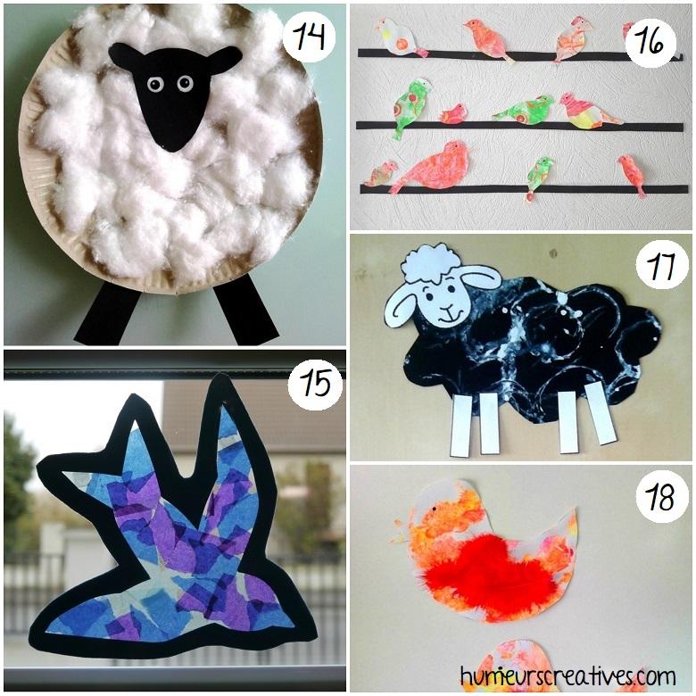 bricolage mouton et oiseaux pour enfants