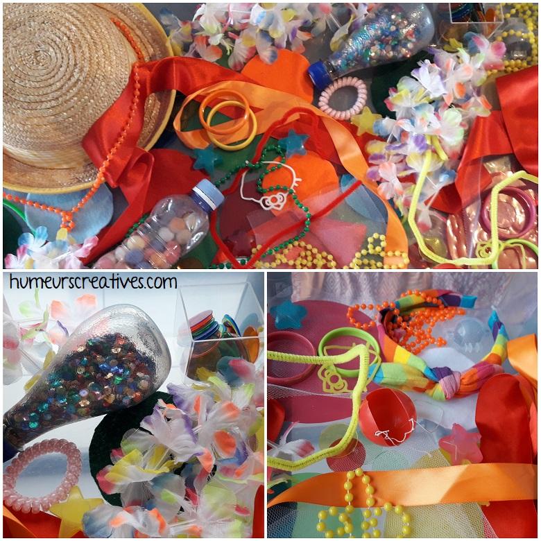 bac sensoriel sur le carnaval : le matériel utilisé