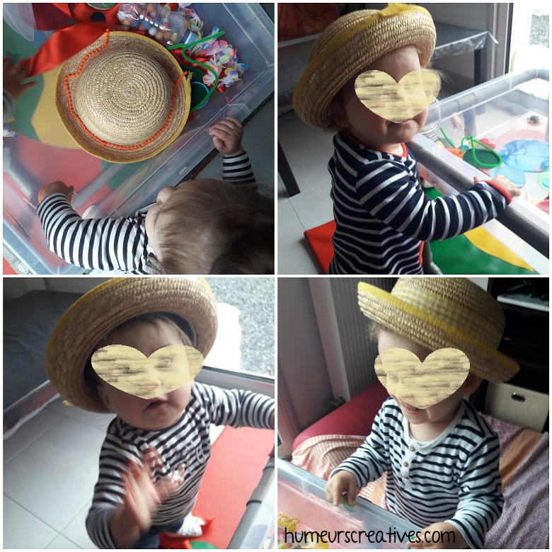 bac sensoriel sur le carnaval : essayage du chapeau de paille