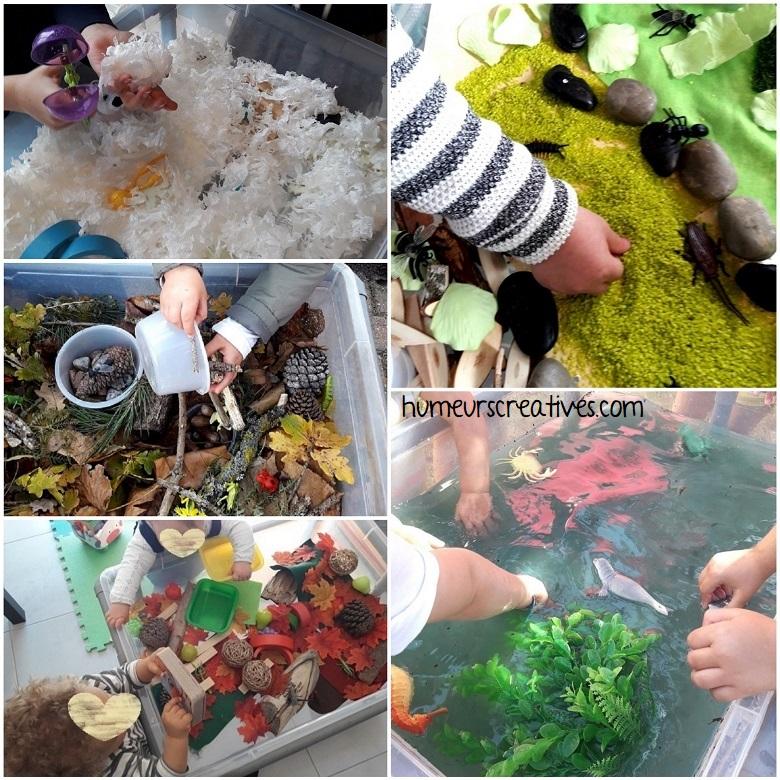 inspiration et idées de bacs sensoriels pour enfants