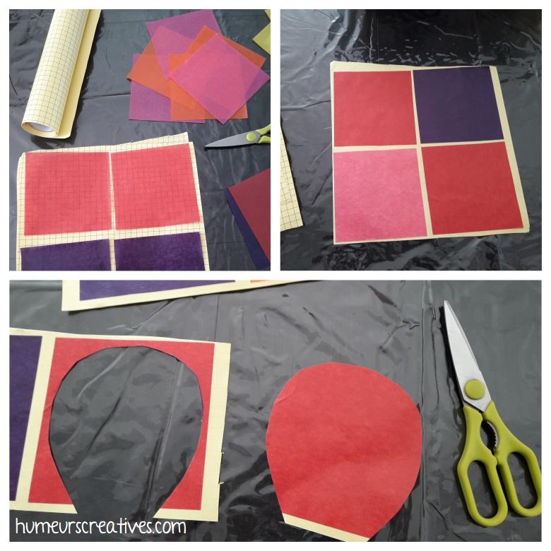 assemblage du papier vitrail sur papier adhésif