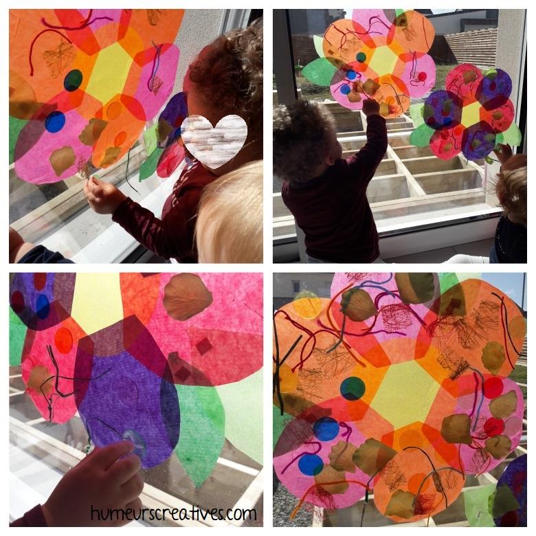 les enfants décorent les fleurs attrapes soleil