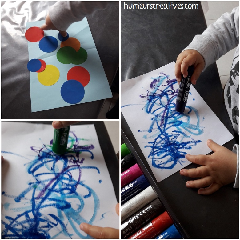 dessiner avec des sticks de gouache solide et collage de gommettes