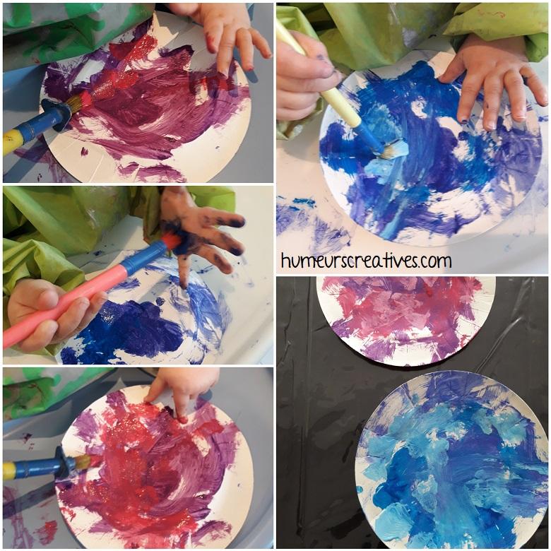 peindre sur une assiette en carton