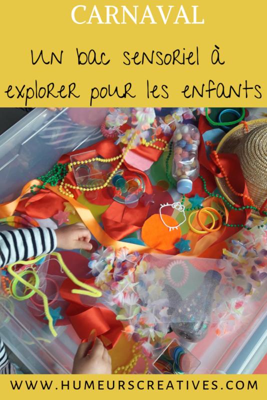 un bac sensoriel à explorer sur le thème de carnaval. Une activité ludique  pour les enfants