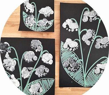 Bricolage 1er mai : fabriquer du muguet avec des empreintes de pieds d'enfants