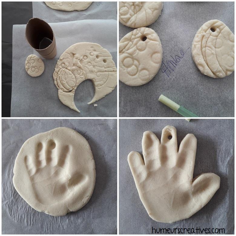 empreinte de main sur la pâte à sel