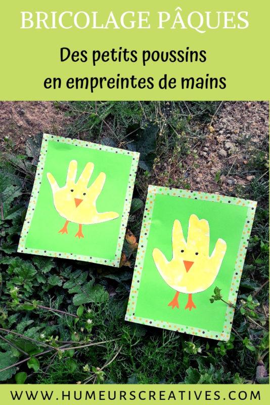 Bricolage de paques : des poussins en empreintes de mains