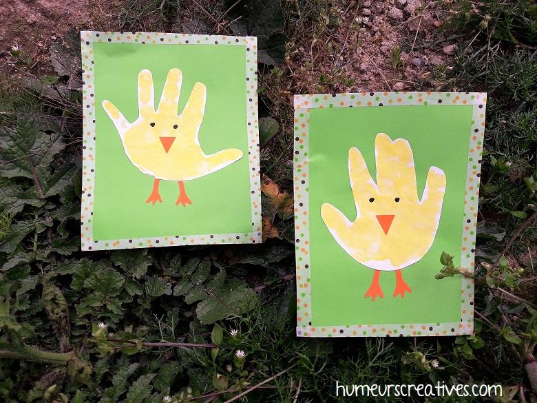 poussins de paques réalisés avec les empreintes de mains des enfants