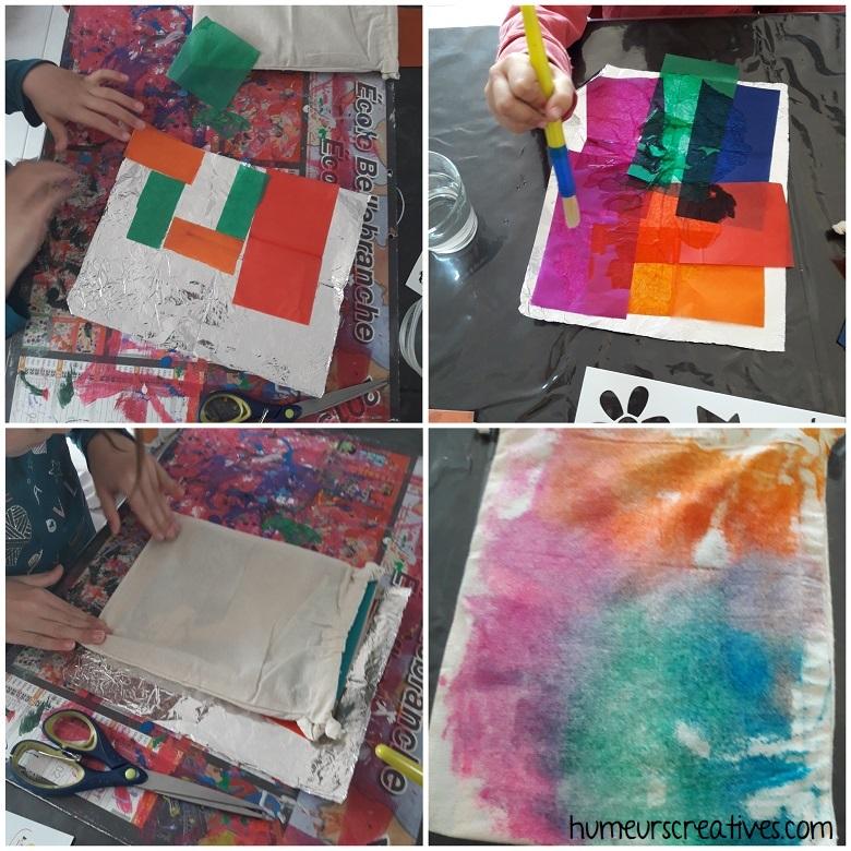 On positionne les morceaux de papier de soie pour ensuite transférer les couleurs