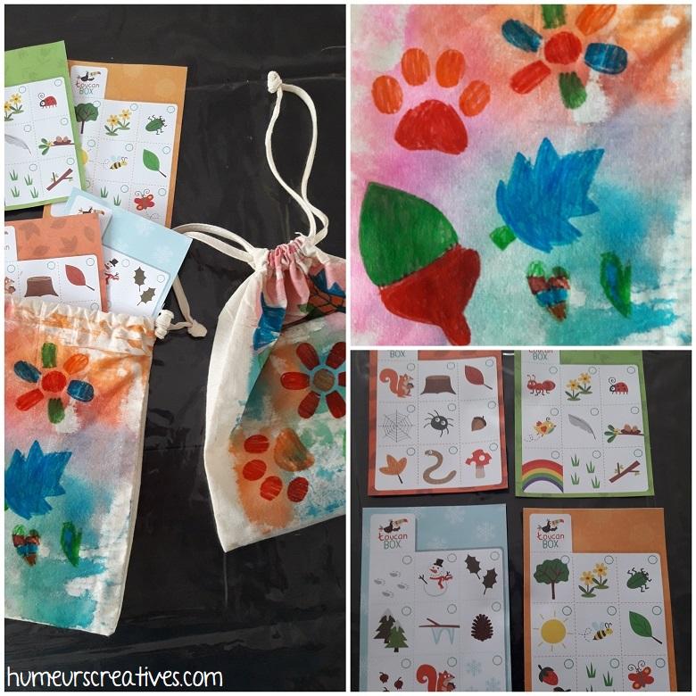 décoration du sac en tissu avec des pochoirs