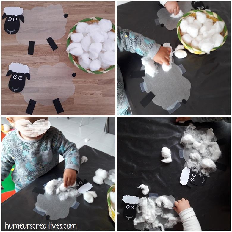 collage de coton par les enfants sur les moutons