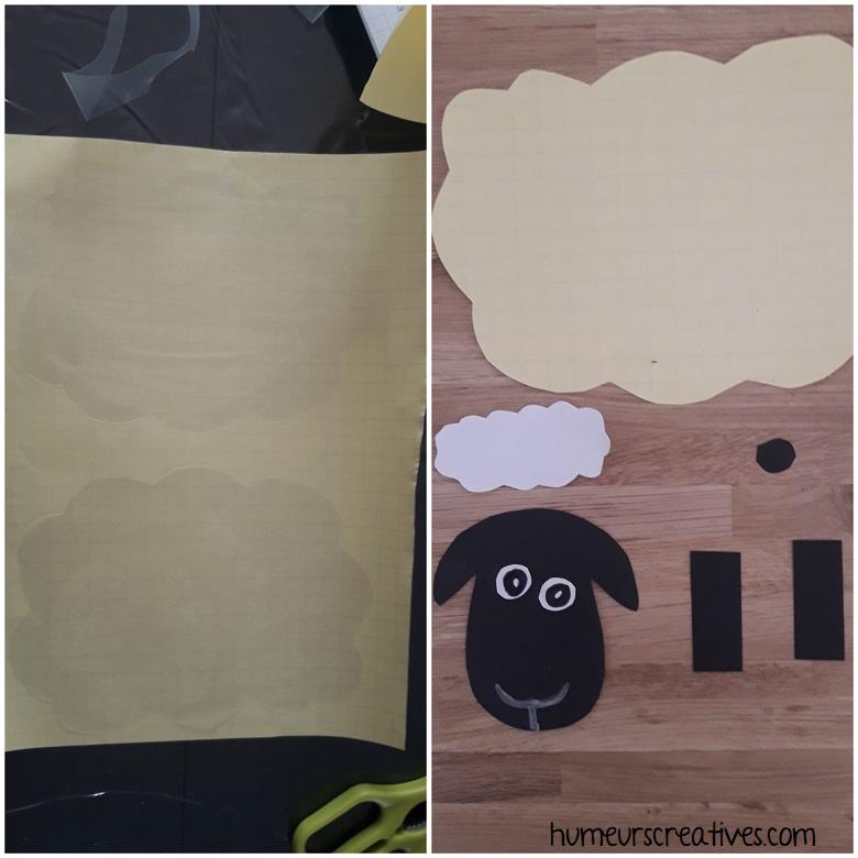 préparation de l'activité : découpage et collage avec le papier adhésif