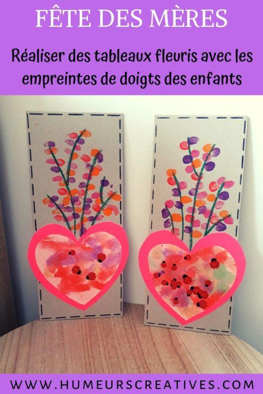 bricolage fête des mères  pour enfants : un cadre fleuri en empreintes de doigts