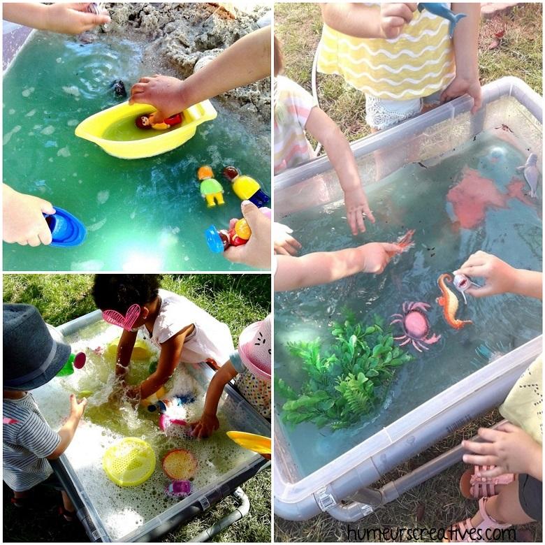 bacs sensoriels pour enfants avec de l'eau