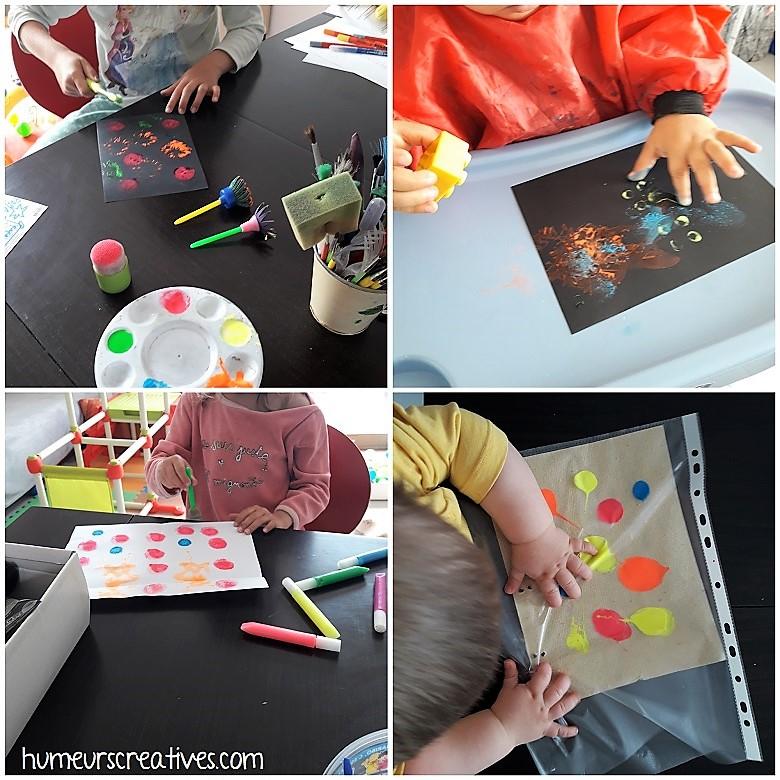 peinture propre pour les bébés et peinture avec divers accessoires pour les plus grands enfants