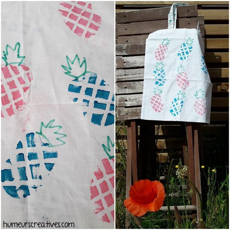 réaliser des ananas sur un sac en tissu