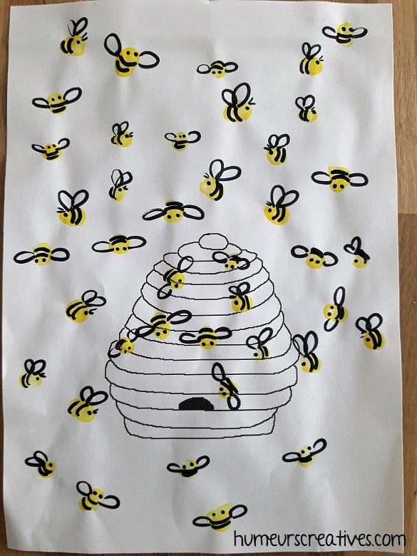 bricolage enfant : les abeilles et leur ruche