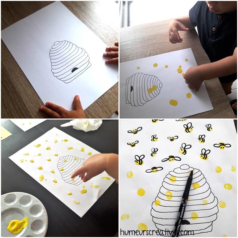 réaliser des abeilles avec de la peinture aux doigts ou avec des gommettes